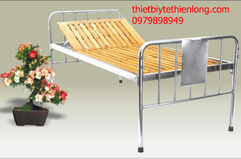 Giường khung inox dát gỗ