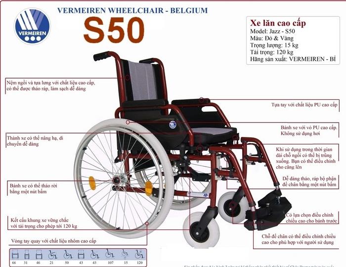 Xe lăn hợp kim nhôm cao cấp Vermeiren Jazz S50 (S-50, S 50) - Bỉ